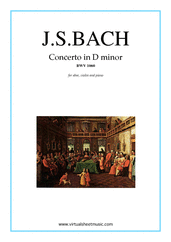 Concerto in D minor BWV 1060 for oboe, violin and piano - classical concerto sheet music
