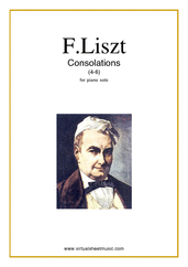 Cover icon of Consolations (4-6) sheet music for piano solo by Franz Liszt, classical score, easy/intermediate