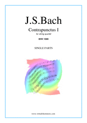 Cover icon of The Art of the Fugue, BWV 1080 - Contrapunctus I (COMPLETE) sheet music for string quartet by Johann Sebastian Bach, classical score, intermediate skill level