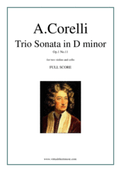 Cover icon of Trio Sonata in D minor Op.1 No.11 (f.score) sheet music for two violins and cello by Arcangelo Corelli, classical score, intermediate