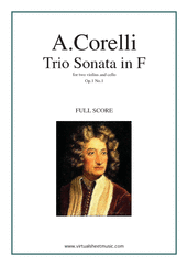 Cover icon of Trio Sonata in F major Op.1 No.1 (COMPLETE) sheet music for two violins and cello by Arcangelo Corelli, classical score, intermediate