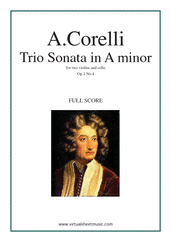 Cover icon of Trio Sonata in A minor Op.1 No.4 (COMPLETE) sheet music for two violins and cello by Arcangelo Corelli, classical score, intermediate skill level