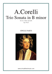 Cover icon of Trio Sonata in B minor Op.1 No.6 (parts) sheet music for two violins and cello by Arcangelo Corelli, classical score, intermediate