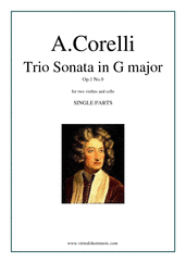 Cover icon of Trio Sonata in C major Op.1 No.9 (parts) sheet music for two violins and cello by Arcangelo Corelli, classical score, intermediate skill level