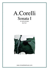 Cover icon of Sonata Op.5 No.1 sheet music for violin and piano by Arcangelo Corelli, classical score, intermediate skill level