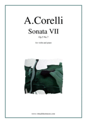 Cover icon of Sonata Op.5 No.7 sheet music for violin and piano by Arcangelo Corelli, classical score, intermediate skill level