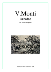 Czardas, easy gypsy airs for violin and piano - classical violin sheet music