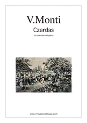 Cover icon of Czardas, gypsy airs sheet music for clarinet and piano by Vittorio Monti, classical score, intermediate/advanced