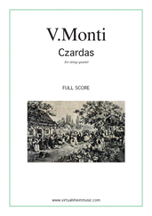 Cover icon of Czardas, easy gypsy airs (f.score) sheet music for string quartet by Vittorio Monti, classical score, intermediate/advanced string quartet