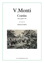 Cover icon of Czardas, easy gypsy airs (parts) sheet music for string trio by Vittorio Monti, classical score, intermediate/advanced skill level