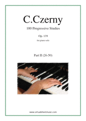 Cover icon of Progressive Studies, 100 Op.139, Part II sheet music for piano solo by Carl Czerny, classical score, easy/intermediate