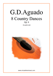 Cover icon of Country Dances, 8 - Op.8 sheet music for guitar solo by Garcia Dionisio Aguado, classical score, easy/intermediate guitar