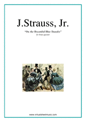 Cover icon of The Blue Danube (parts) sheet music for brass quintet by Johann Strauss, Jr., classical score, intermediate/advanced skill level
