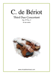 Cover icon of Third Duo Concertant Op.57 No.3 sheet music for two violins by Charles De Beriot, classical score, advanced duet