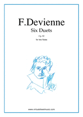 Cover icon of Six Duets Op.82 sheet music for two flutes by Francois Devienne, classical score, intermediate duet