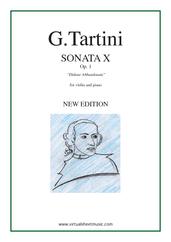 Cover icon of Sonata Op.1 No.10 sheet music for violin and piano by Giuseppe Tartini, classical score, intermediate