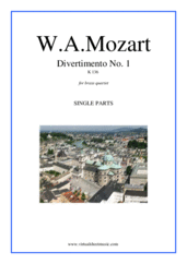 Cover icon of Divertimento No.1 K136 (parts) sheet music for brass quartet by Wolfgang Amadeus Mozart, classical score, intermediate/advanced brass quartet