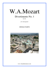 Cover icon of Divertimento No.1 K136 (parts) sheet music for wind quartet by Wolfgang Amadeus Mozart, classical score, intermediate