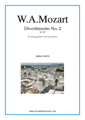 Cover icon of Divertimento No.2 K137 (parts) sheet music for string quartet or string orchestra by Wolfgang Amadeus Mozart, classical score, intermediate