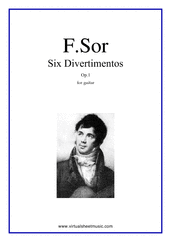 Cover icon of Six Divertimentos Op.1 sheet music for guitar solo by Fernando Sor, classical score, intermediate/advanced guitar