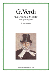 Cover icon of La Donna e Mobile, from the opera Rigoletto sheet music for tenor and piano by Giuseppe Verdi, classical score, advanced skill level