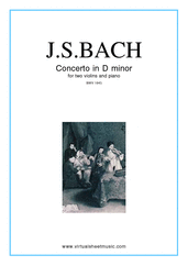 Cover icon of Concerto in D minor BWV 1043 (Double Concerto) sheet music for two violins and piano by Johann Sebastian Bach