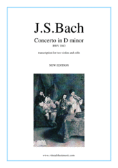 Cover icon of Concerto in D minor BWV 1043 (Double Concerto) sheet music for two violins and cello by Johann Sebastian Bach, classical score, intermediate skill level