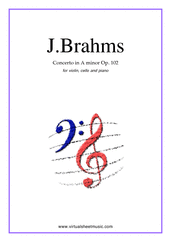 Cover icon of Concerto in A minor Op.102 sheet music for violin, cello and piano by Johannes Brahms