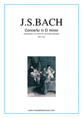 Cover icon of Concerto in D minor BWV 1043 (Double Concerto) sheet music for two flutes and piano by Johann Sebastian Bach, classical score, intermediate/advanced