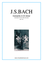 Cover icon of Concerto in D minor BWV 1043 (Double Concerto) sheet music for two cellos and piano by Johann Sebastian Bach, classical score, intermediate/advanced two