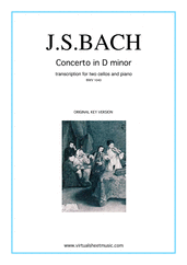 Cover icon of Concerto in D minor BWV 1043 (Double Concerto) original key sheet music for two cellos and piano by Johann Sebastian Bach, classical score, intermediate/advanced skill level