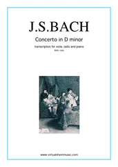Cover icon of Concerto in D minor BWV 1043 (Double Concerto) sheet music for viola, cello and piano by Johann Sebastian Bach, classical score, intermediate/advanced viola,
