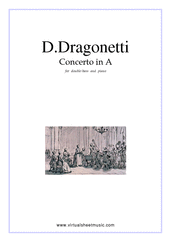 Cover icon of Concerto in A major sheet music for double-bass and piano by Domenico Dragonetti, classical score, advanced double-bass