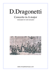Cover icon of Concerto in A major sheet music for violin and piano by Domenico Dragonetti, classical score, advanced skill level