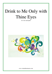 Cover icon of Drink to Me Only with Thine Eyes sheet music for voice and piano, intermediate skill level