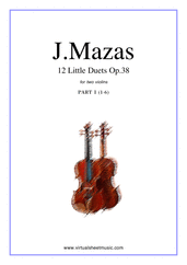 Cover icon of Little Duets Op.38, 12 - part I sheet music for two violins by Jaques Fereol Mazas