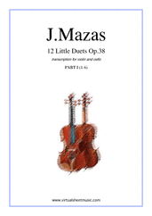 Cover icon of Little Duets Op.38, 12 - part I sheet music for violin and cello by Jaques Fereol Mazas, classical score, intermediate duet