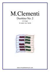 Cover icon of Duettino No.2 in G major sheet music for piano four hands by Muzio Clementi, classical score, easy piano four hands