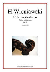 Cover icon of L' Ecole Moderne Op.10 sheet music for violin solo by Henry Wieniawski, classical score, advanced