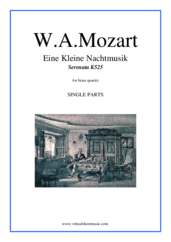 Cover icon of Eine Kleine Nachtmusik sheet music for brass quartet by Wolfgang Amadeus Mozart, classical score, advanced skill level