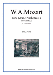 Cover icon of Eine Kleine Nachtmusik (parts) sheet music for 3 double-basses by Wolfgang Amadeus Mozart, classical score, intermediate/advanced skill level