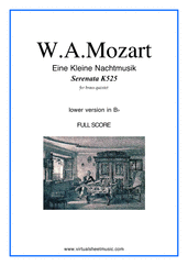 Cover icon of Eine Kleine Nachtmusik (in Bb) (f.score) sheet music for brass quintet by Wolfgang Amadeus Mozart, classical score, advanced skill level