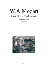 Cover icon of Eine Kleine Nachtmusik sheet music for piano solo by Wolfgang Amadeus Mozart, classical score, intermediate/advanced piano