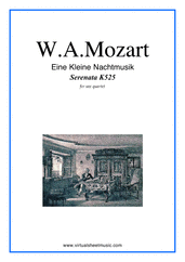 Cover icon of Eine Kleine Nachtmusik (parts) sheet music for saxophone quartet by Wolfgang Amadeus Mozart, classical score, intermediate