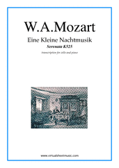 Cover icon of Eine Kleine Nachtmusik sheet music for cello and piano by Wolfgang Amadeus Mozart, classical score, intermediate/advanced skill level