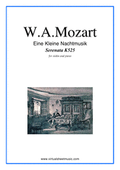 Cover icon of Eine Kleine Nachtmusik sheet music for violin and piano by Wolfgang Amadeus Mozart, classical score, intermediate/advanced