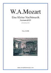 Cover icon of Eine Kleine Nachtmusik (f.score) sheet music for wind quintet by Wolfgang Amadeus Mozart, classical score, advanced wind quintet