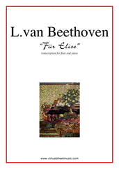 Cover icon of Fur Elise sheet music for flute and piano by Ludwig van Beethoven, classical score, easy/intermediate skill level