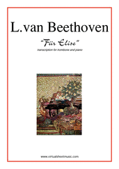 Cover icon of Fur Elise sheet music for trombone and piano by Ludwig van Beethoven, classical score, intermediate skill level