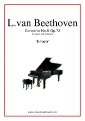 "Cover icon of Concerto Op.73 No.5 ""Emperor"" sheet music for piano and orchestra by Ludwig van Beethoven, classical score, advanced"